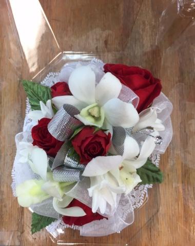 Wristlet - Red Spray Rose, Dendrobium Orchid, Hyacinth