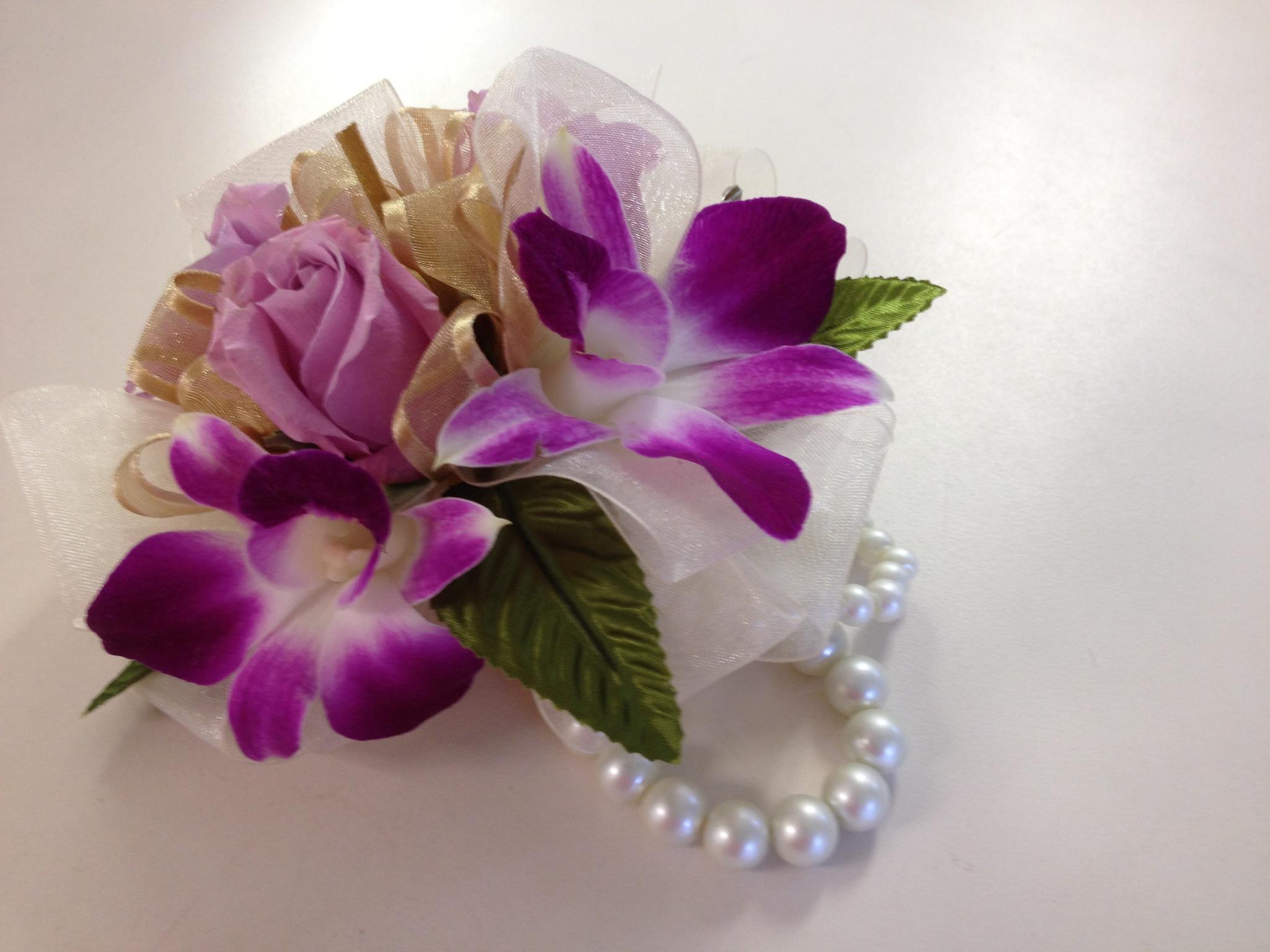 Wristlet -  Dendrobium Orchids, Spray Roses