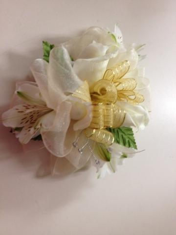 Wristlet - White Rose, Alstroemeria