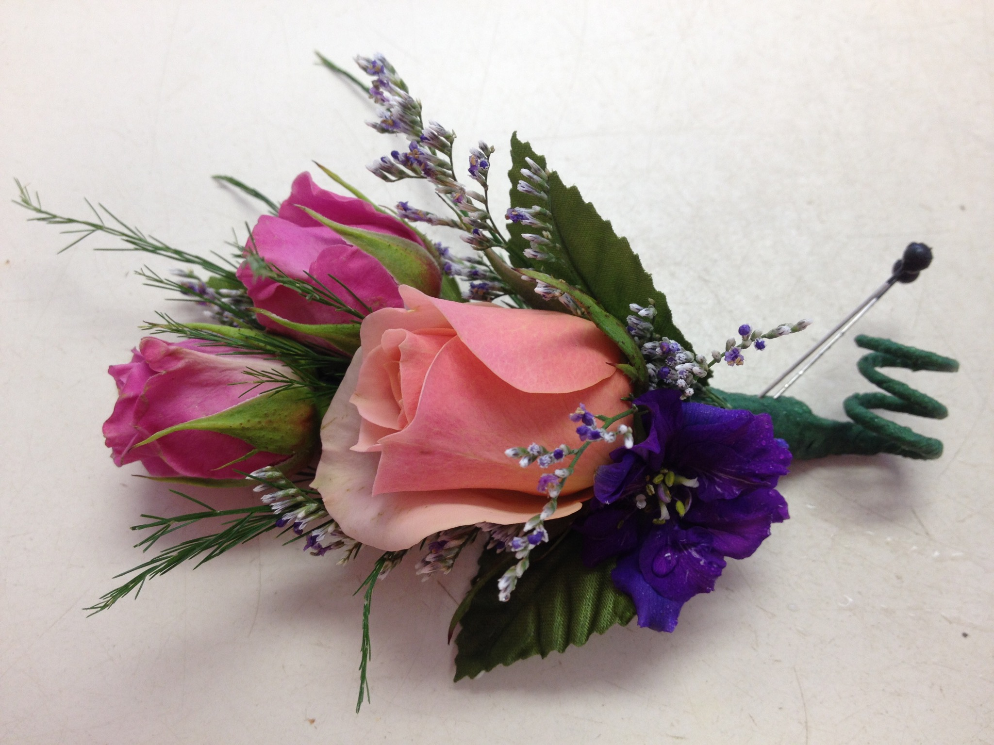 Boutonniere - Pink Spray Roses, Larkspur