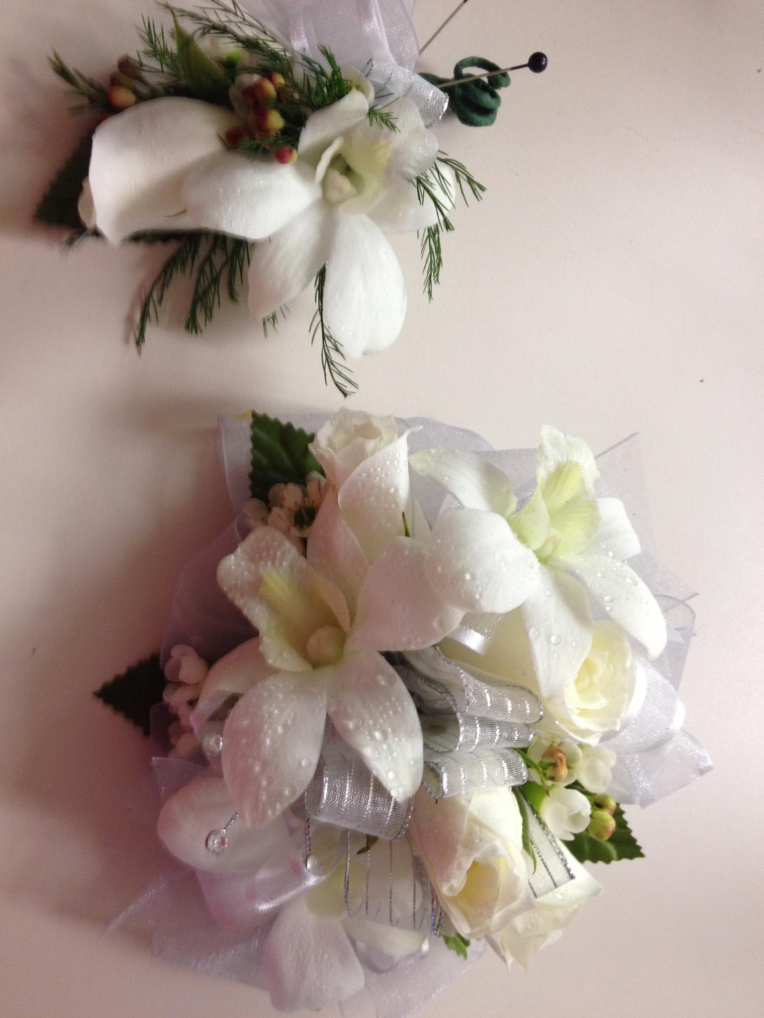 Wristlet & Boutonnière - Orchid, Spray Rose