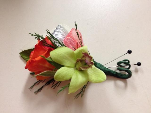 Boutonniere - Orange Spray Rose, Dendrobium Orchid