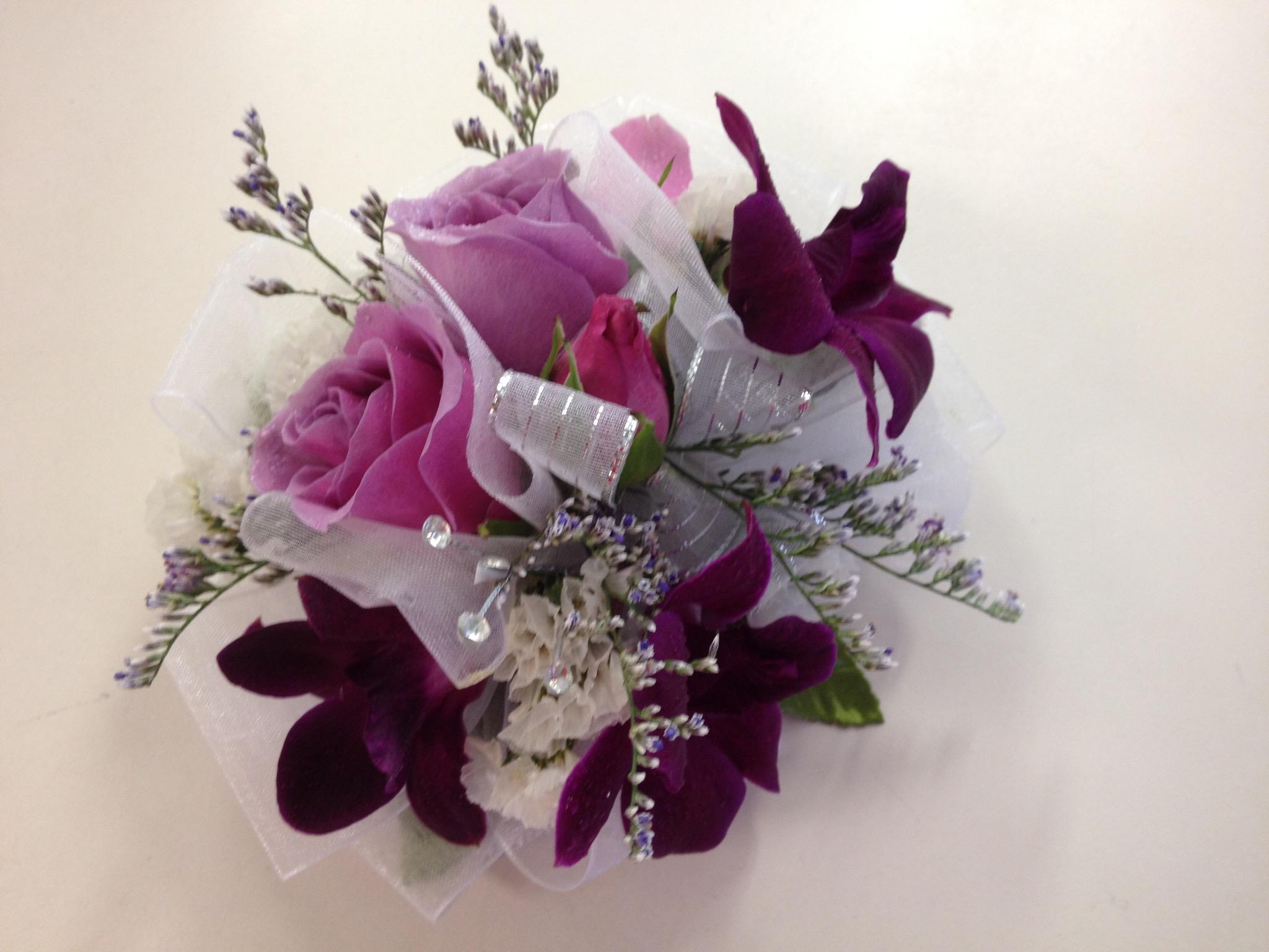 Wristlet -  Dendrobium Orchid, Spray Roses