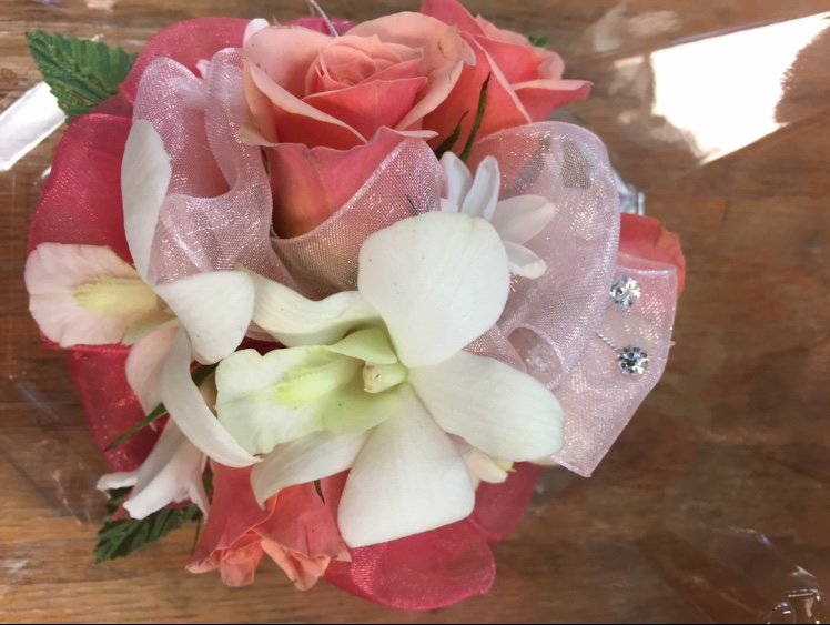 Wristlet - Peach Spray Rose, Dendrobium Orchid, Hyacinth