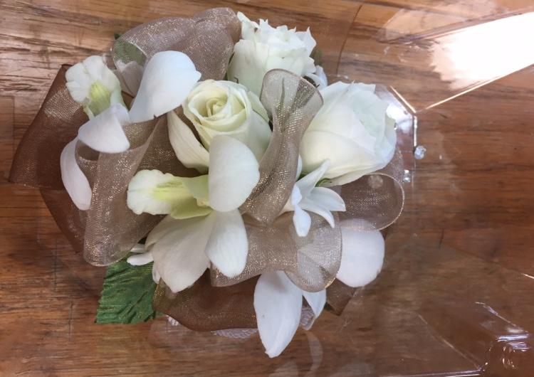Wristlet - White Spray Rose, Dendrobium Orchid