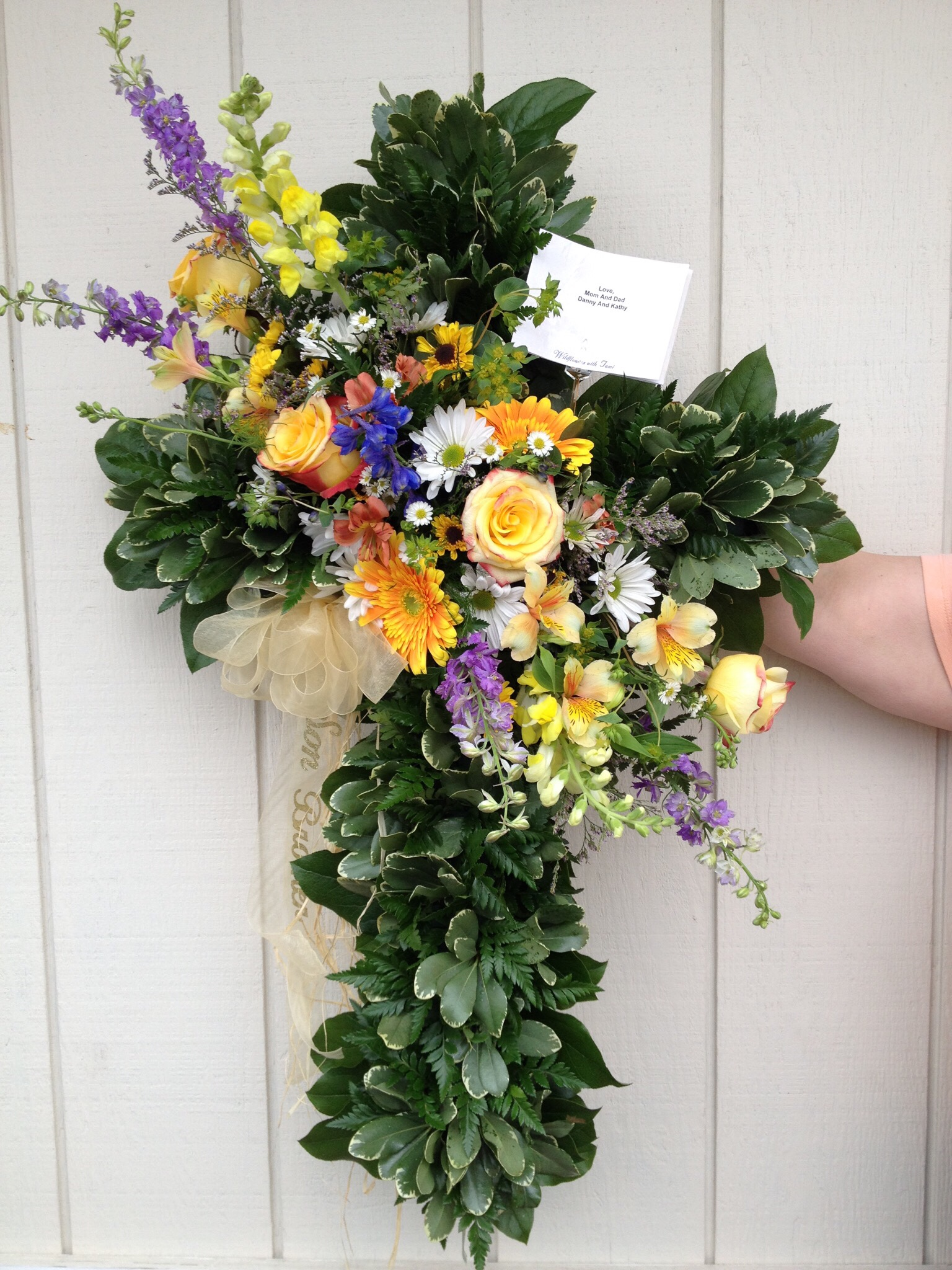 Cross Spray - Roses, Larkspur, Gerbera Daisy