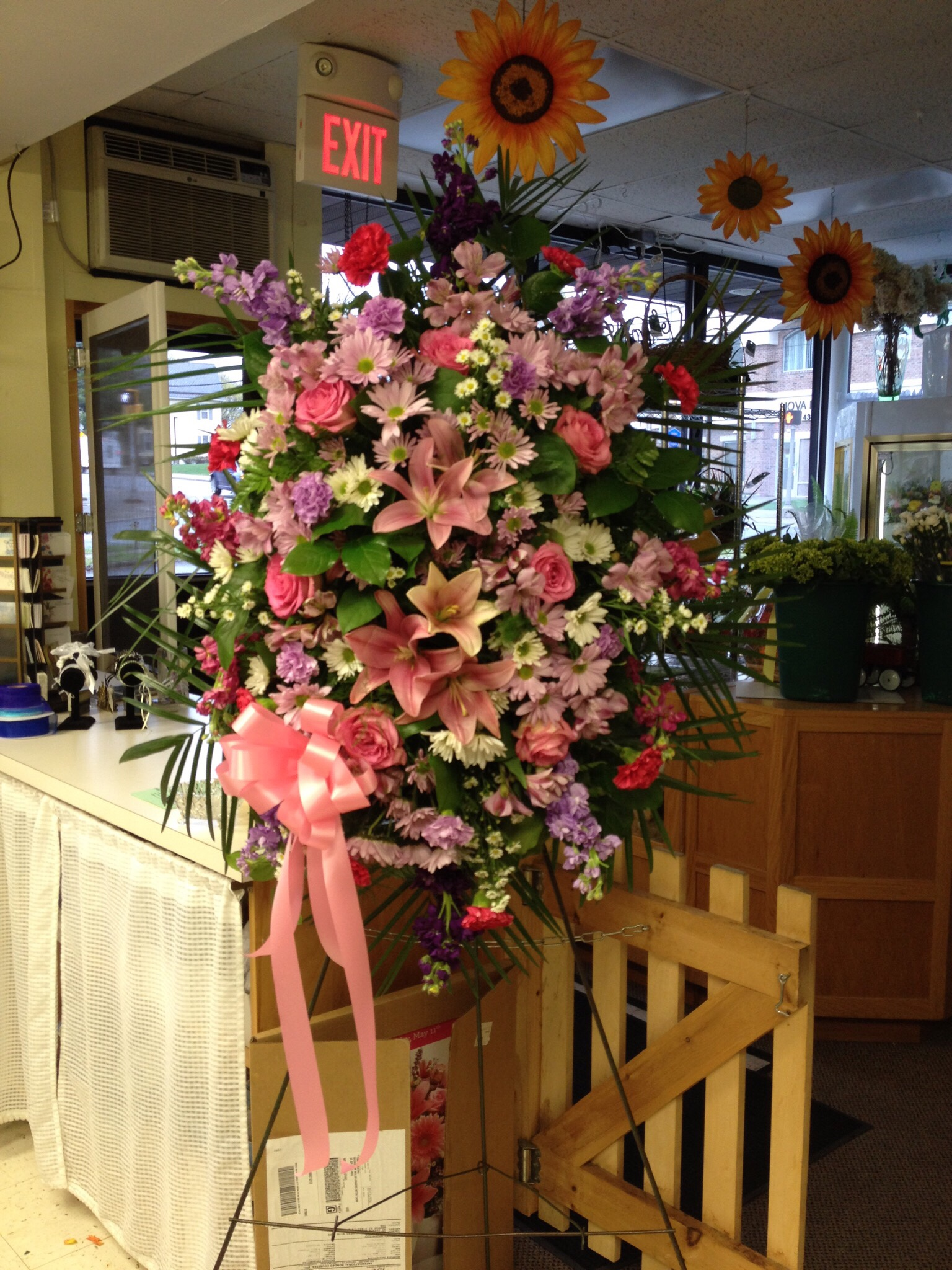 Traditional Spray - Roses, Lilies, Stock,