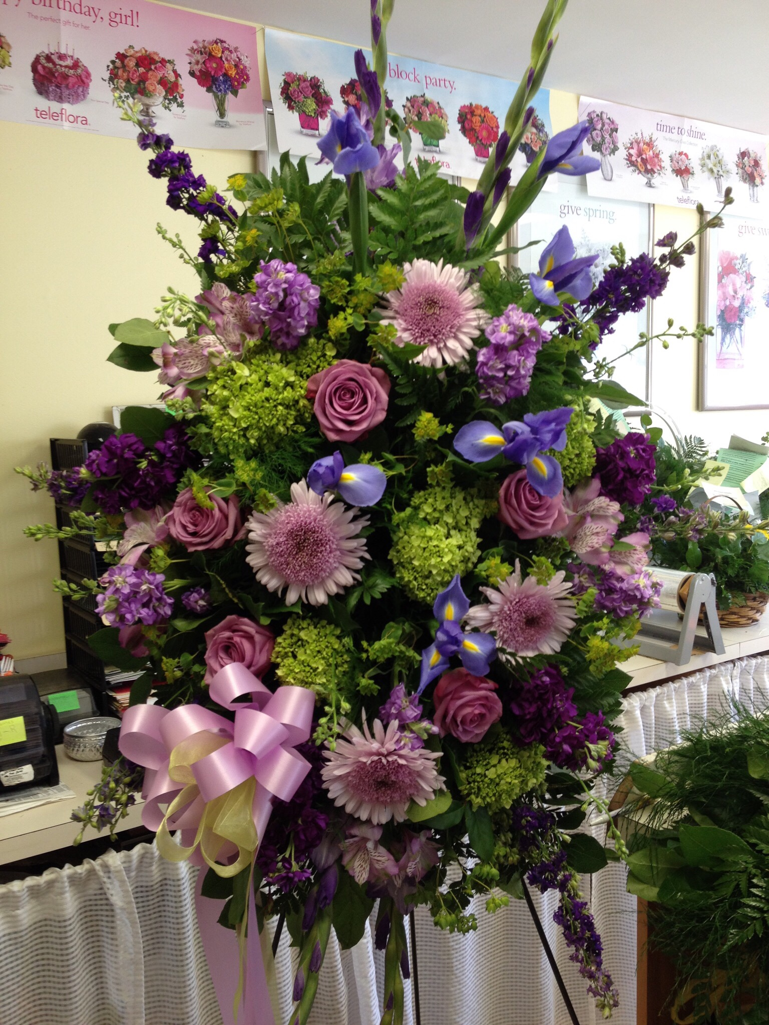 Traditional Spray - Roses, Hydrangea, Spider Mums, Iris, Larkspur