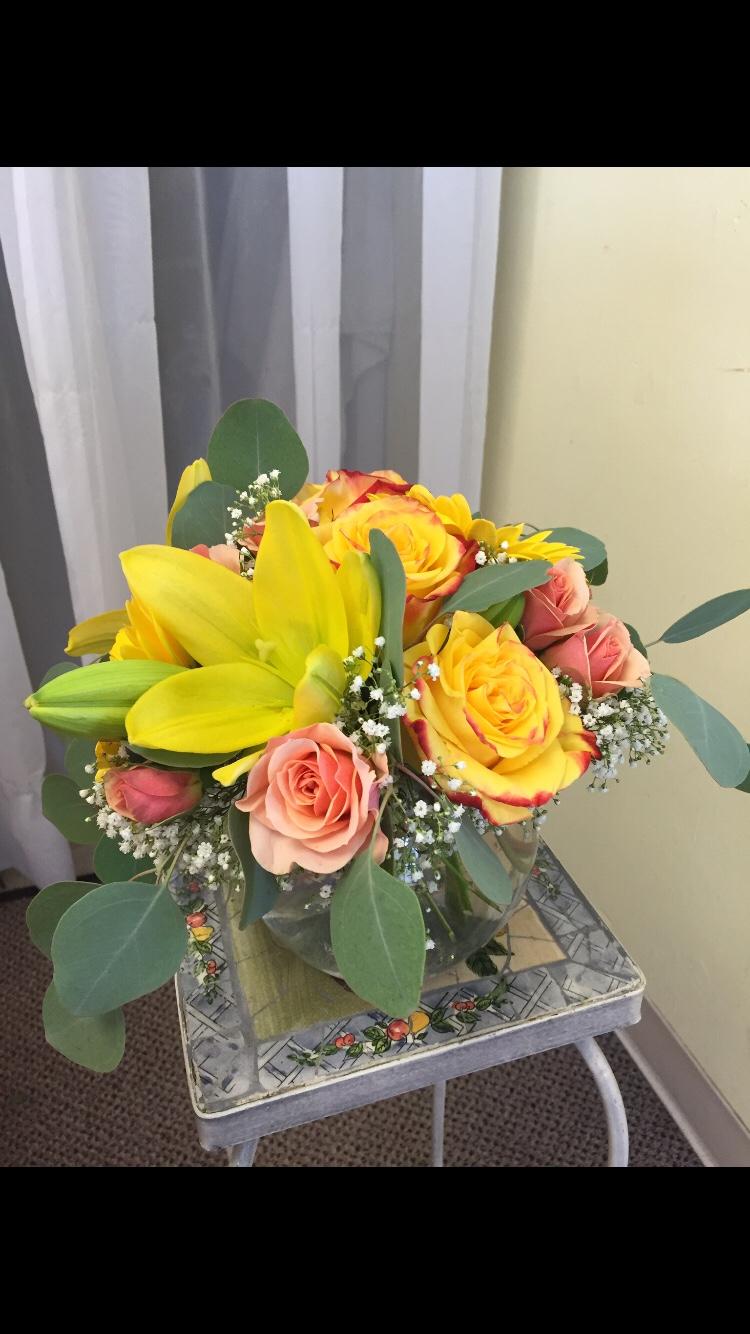 Bubble Bowl Arrangement - Roses, Eucalyptus, Lilies