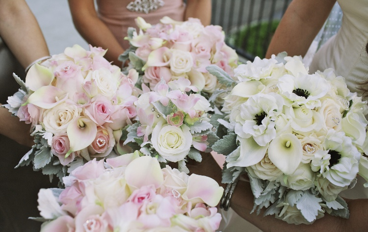Pink, white and black bridal bouquets
