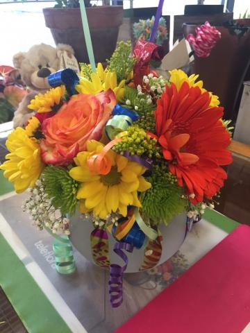 Birthday Arrangement - Ribbons, Roses, Gerbera Daisy