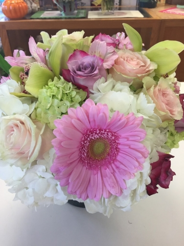 Birthday Arrangement - Gerbera Daisy, Roses, Hydrangea