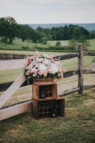 wedding decor, rustic wedding, basket of flowers