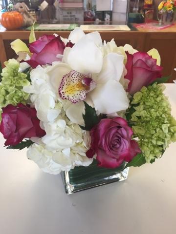 Birthday Arrangement - Orchids, Hydrangea, Roses