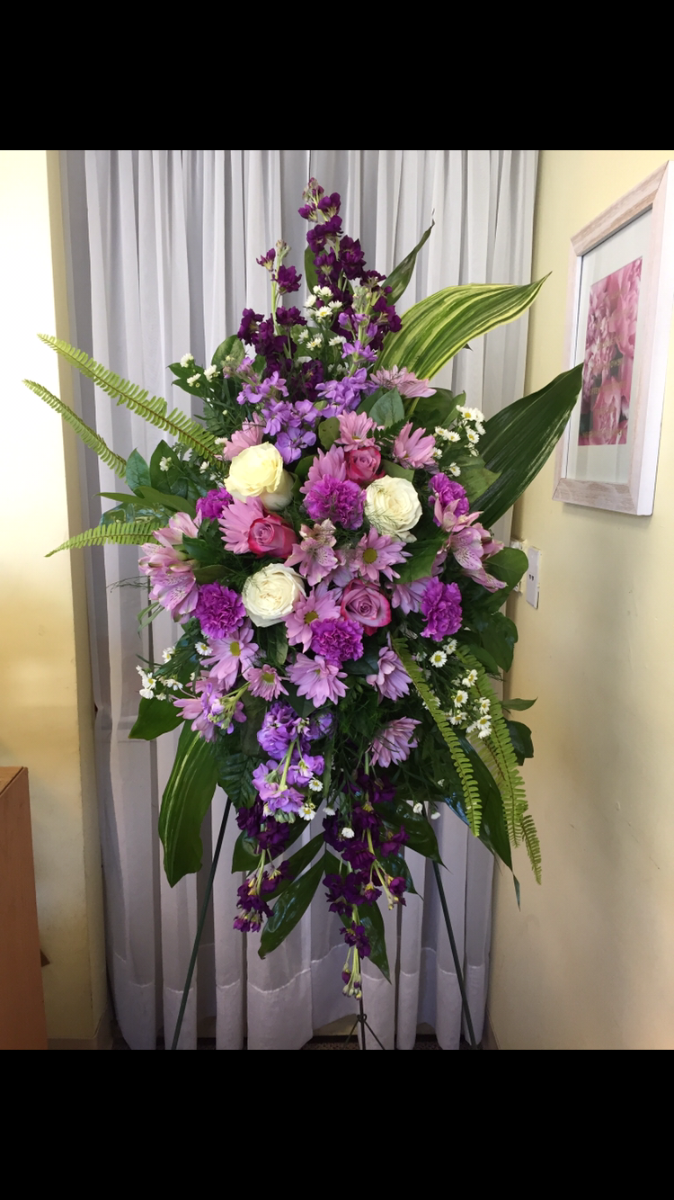 Standing Spray - Purple and White Roses, Stock, Carnations, Fern