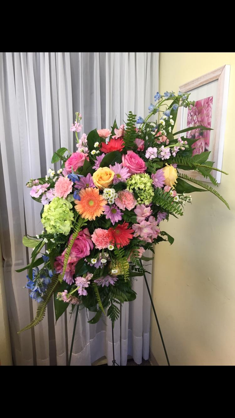 Standing Spray Garden Style - Hydrangea, Roses, Fern
