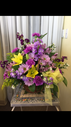 Table Arrangement - Purple and Yellow Liliies, Carnations, Stock