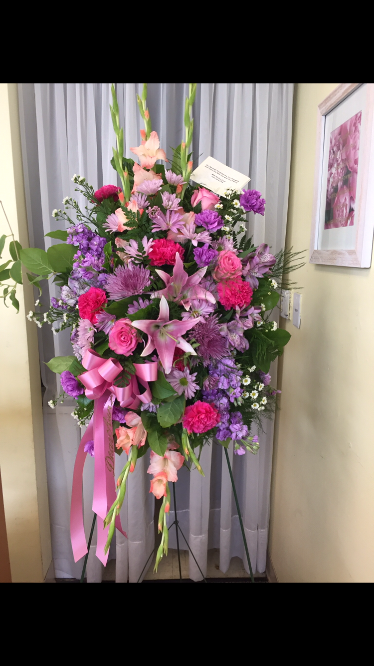 Standing Spray - Purple and Pink Lilies, Roses, Gladiolas, Carnations