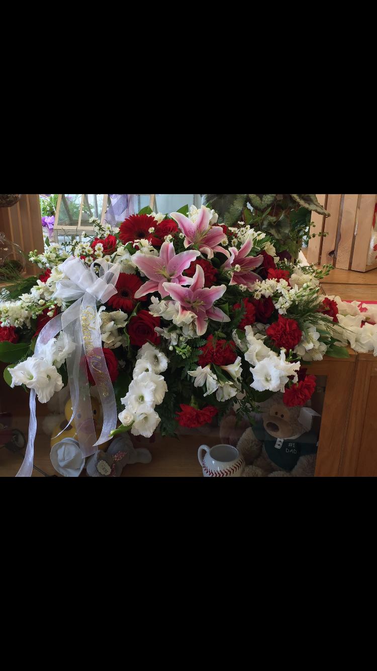 Casket Cover - Lilies, Gladiolas, Gerbera Daisies