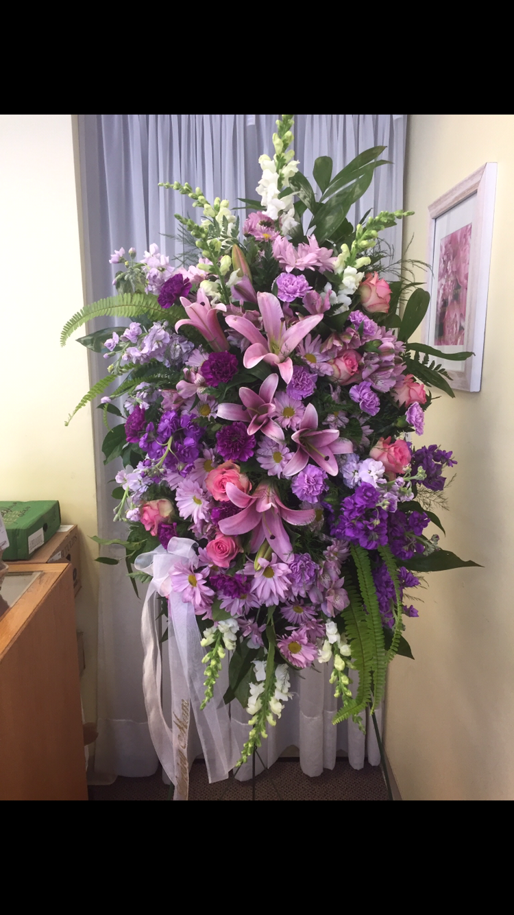 Standing Spray - All Purple, Lilies, Roses, Ferns