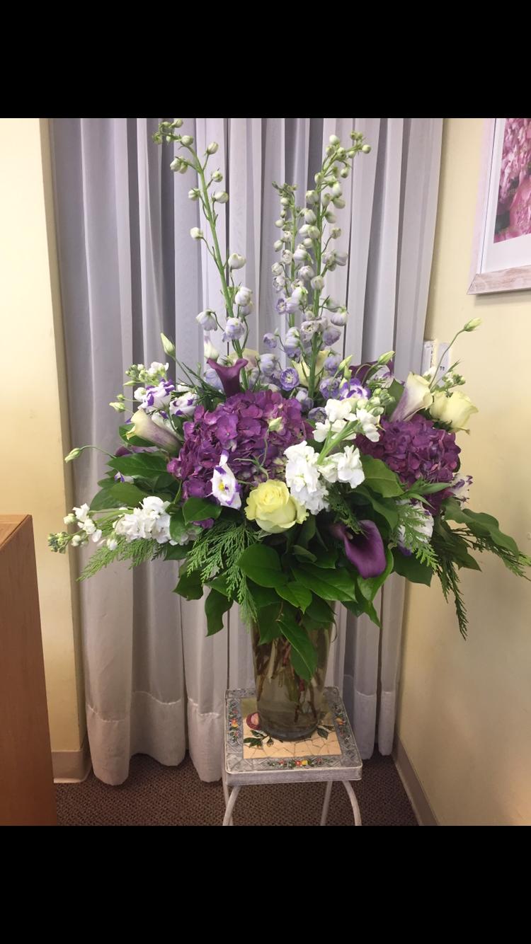 Statement Vase - Large vase with Cedar, Lisianthus, Calla Lilies, Hydrangea