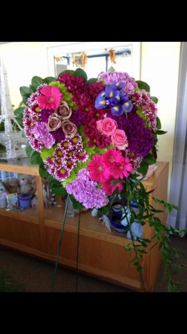 Heart Spray - Roses, Iris, Gerbera Daisy