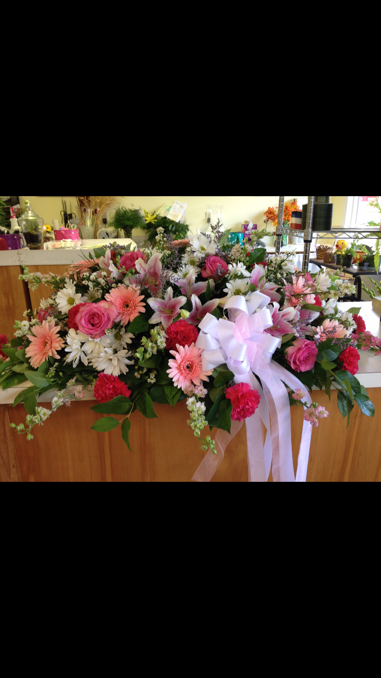 Casket Cover - Pink Roses, Pink Lilies, Larkspur, Gerbera Daisy