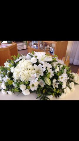 Casket Cover - All White, Hydrangea, Liliy