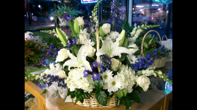 Fireside Basket - Blue and White Larkspur, Iris, Lilies, Roses