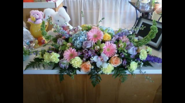Casket Cover Garden Style - Lilies, Roses, Hydrangea, Bells of Ireland